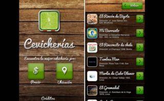 Una aplicación para localizar las mejores cebicherías en Lima