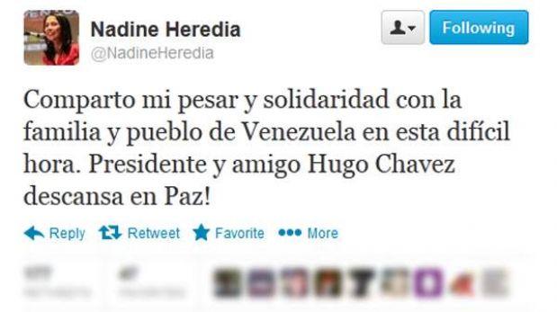 "Nadine Heredia: ""Amigo Hugo Chávez descansa en paz"""
