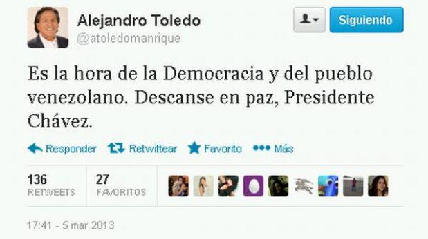 """Toledo luego de muerte de Hugo Chávez: """"Es hora de la democracia en Venezuela"""""""