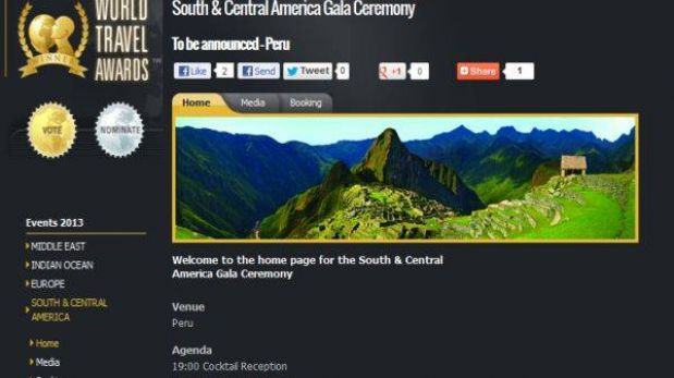 El Perú será sede de la versión sudamericana del World Travel Awards