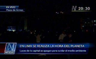 VIDEO: así se vivió La Hora del Planeta en la Plaza de Armas de Lima