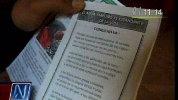 Volantes anti Conga fueron repartidos en reunión que lidera Gregorio Santos