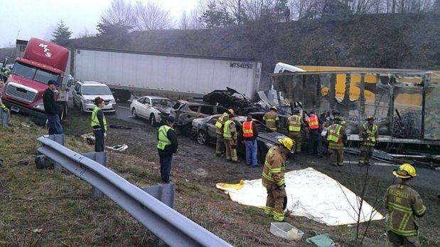 FOTOS: impresionante choque en cadena de 100 vehículos dejó tres muertos en EE.UU.