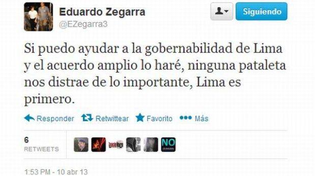 """""""Un independiente y no Zegarra debe dirigir foro del Acuerdo por Lima"""""""