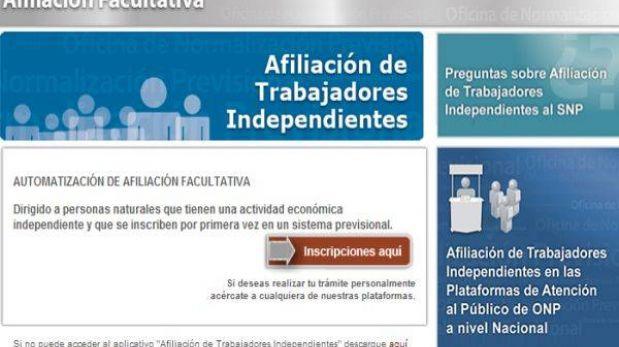 Trabajadores independientes pueden afiliarse a la ONP por Internet