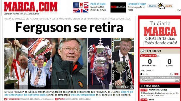 FOTOS: así fue visto el retiro de Alex Ferguson del Manchester United por la prensa internacional