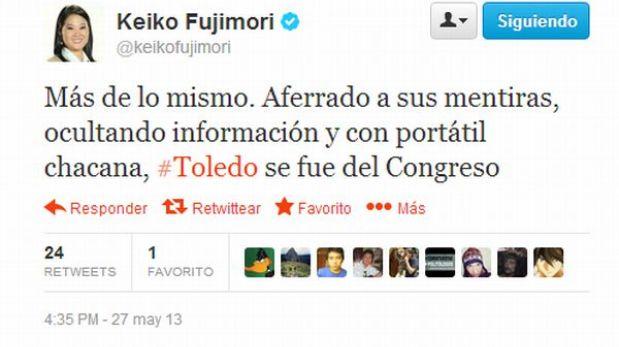 """""""Alejandro Toledo se aferró a sus mentiras y ocultó información"""", sostuvo Keiko Fujimori"""