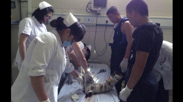 FOTOS: la recuperación del bebe rescatado de un desagüe en China, un caso que conmueve al mundo