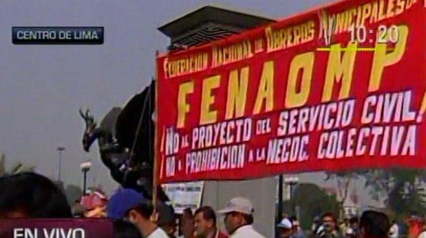 Trabajadores estatales marcharán por el centro de Lima hacia el Congreso