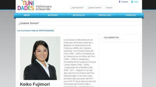 """Oportunidades"", la ONG donde trabaja Keiko Fujimori"