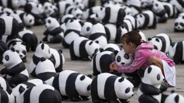 Berlín muestra 1.600 figuras de osos panda, una por cada ejemplar en libertad en el mundo