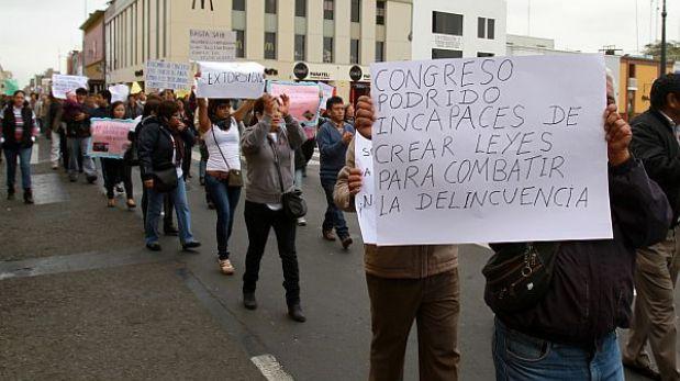 Trujillo: Con protesta cambistas exigen protección y seguridad en las calles