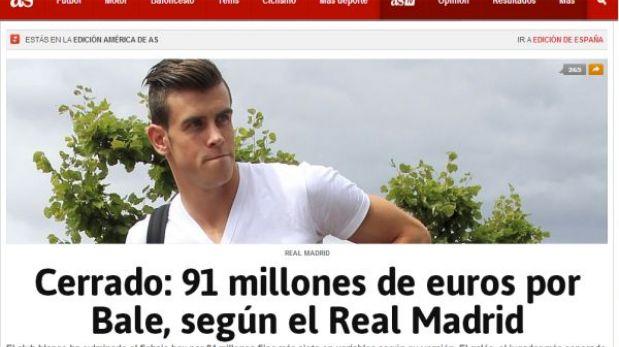 """Gareth Bale ya es del Real Madrid por 91 millones de euros, según """"AS"""""""