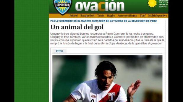 """Paolo Guerrero es """"un animal del gol"""" para la prensa de Uruguay"""