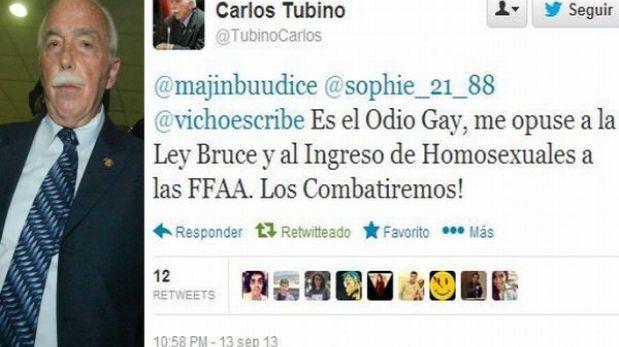 Congresista Tubino protagonizó polémica en Twitter por unión civil homosexual
