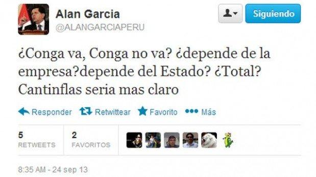 """Alan García criticó a Humala por Conga: """"Cantinflas sería más claro"""""""
