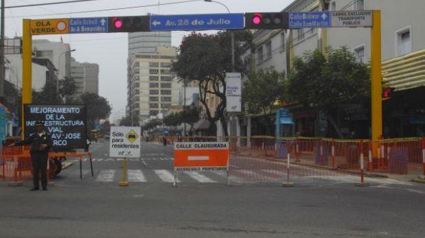 Miraflores: hoy cerrarán tránsito en cuadras 7 y 8 de la Av. 28 de Julio