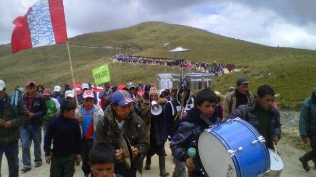 Cajamarca: manifestantes marcharon hacia las lagunas del proyecto Conga