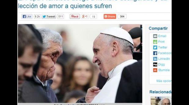 Papa Francisco bendice a un hombre con el rostro totalmente desfigurado