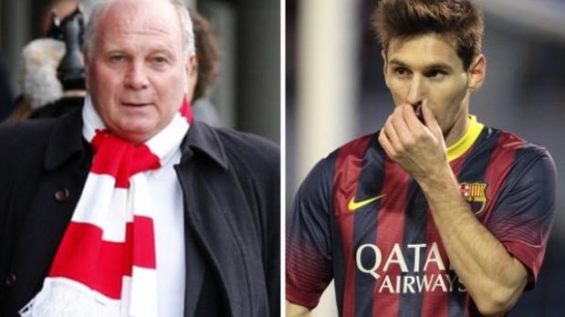 """""""Messi no es un tema ni lo será nunca para el Bayern"""", asegura Uli Hoeness"""