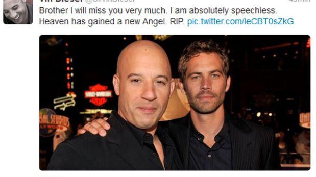 """Vin Diesel lamentó muerte de Paul Walker: """"Hermano, te voy a extrañar mucho"""""""