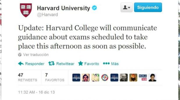 Universidad de Harvard es evacuada por amenaza de bombas