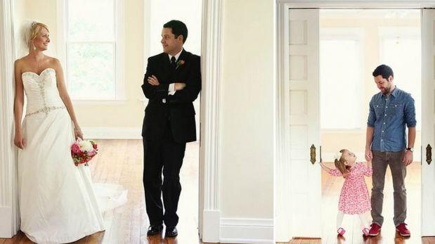 Joven viudo recrea las fotos de su boda con su pequeña hija [FOTOS]