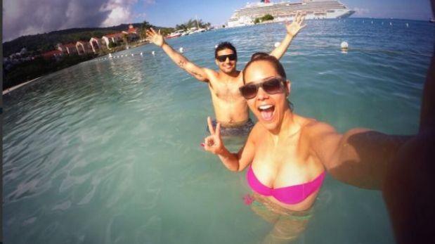 Karen Schwarz disfruta sus vacaciones con Ezio Oliva en Jamaica