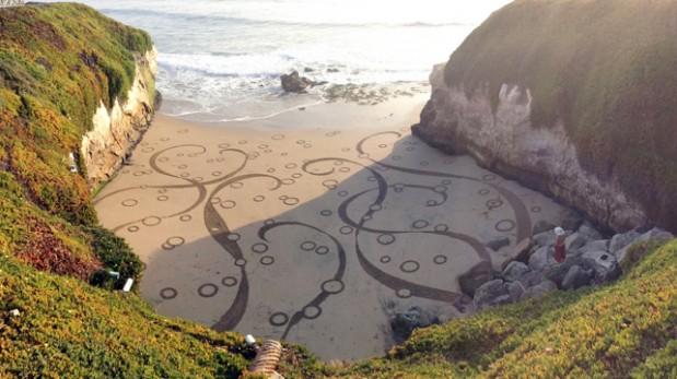 Arte en la playa: Conoce al hombre que dibuja en la arena