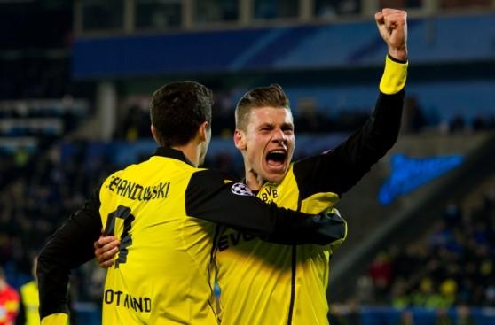 La alegría del Dortmund tras su contundente triunfo en Rusia