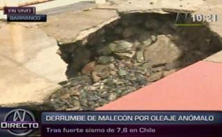 Denuncian que oleaje dañó parte del malecón de Barranco