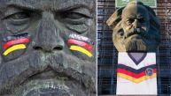 Estatua de Marx vestida de hincha generó polémica en Alemania