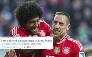Dante y su sentido tuit por la ausencia Ribéry en el Mundial