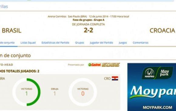 Mundial: web de la FIFA publicó resultado del Brasil-Croacia