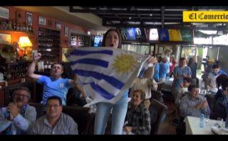 Así festejaron uruguayos en Lima clasificación a octavos