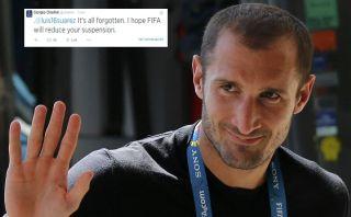 """Chiellini a Suárez: """"Espero que la FIFA reduzca tu sanción"""""""