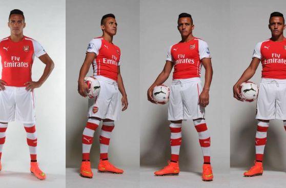 Alexis Sánchez posó con la nueva indumentaria del Arsenal FC