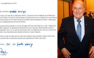 Blatter envió carta a la selección Sub 15 por el oro olímpico