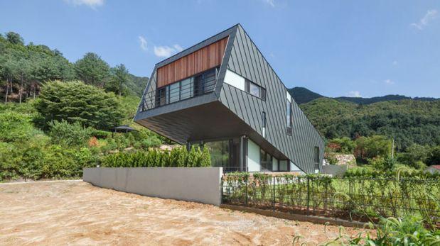 En busca del sol: Construyen extraña casa diagonal en Corea