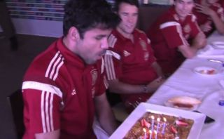 Diego Costa festejó cumpleaños en concentración de España