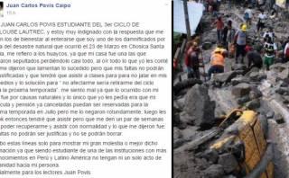 Facebook: instituto se disculpó con alumno afectado en Chosica