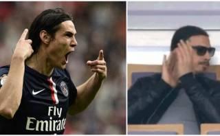Edinson Cavani marcó gol de sombrero e Ibrahimovic celebró así