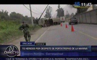 Portatropa de La Marina se volcó y dejó 15 militares heridos