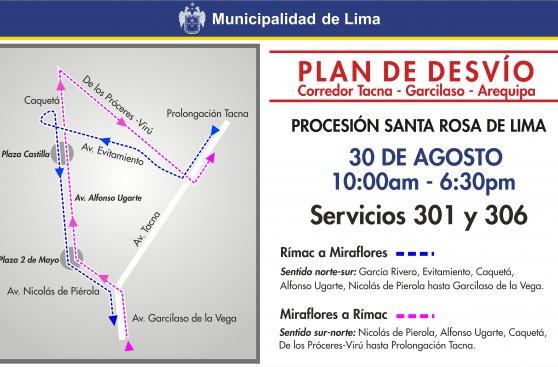 Metropolitano y corredor azul serán desviados este domingo