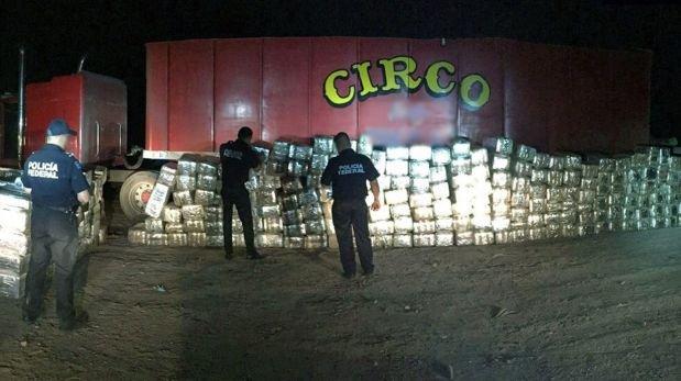 México: Hallan 4 toneladas de marihuana en un tráiler de circo
