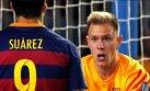 La discusión de Suárez con Ter Stegen por gol de Leverkusen