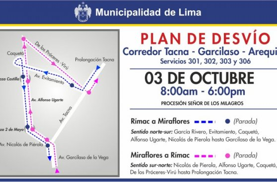 Señor de los Milagros: desvíos en Metropolitano y corredor azul