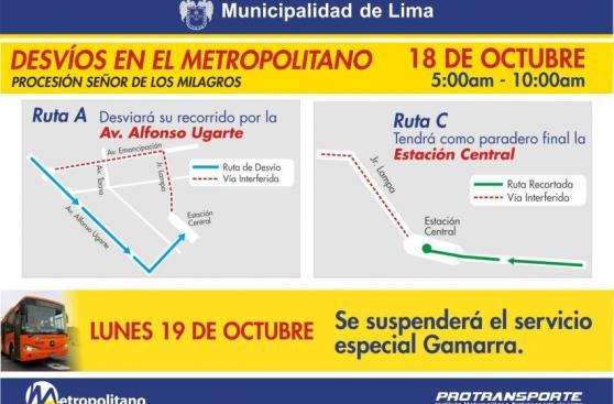 Metropolitano y corredor azul serán desviados este 18 y 19