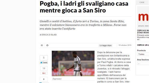 Insólito: robaron casa de Pogba mientras jugaba frente al Inter