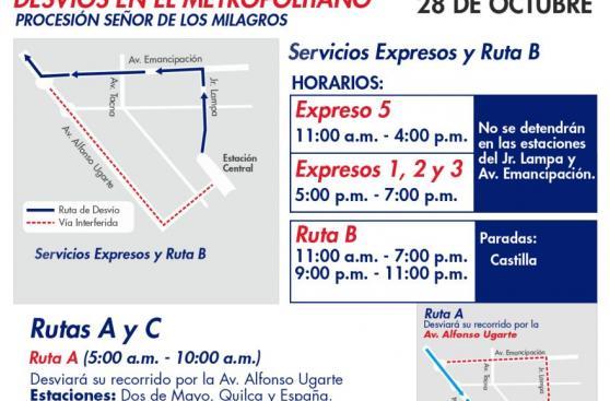 Metropolitano y Corredor azul: buses desviarán este 28 [MAPA]